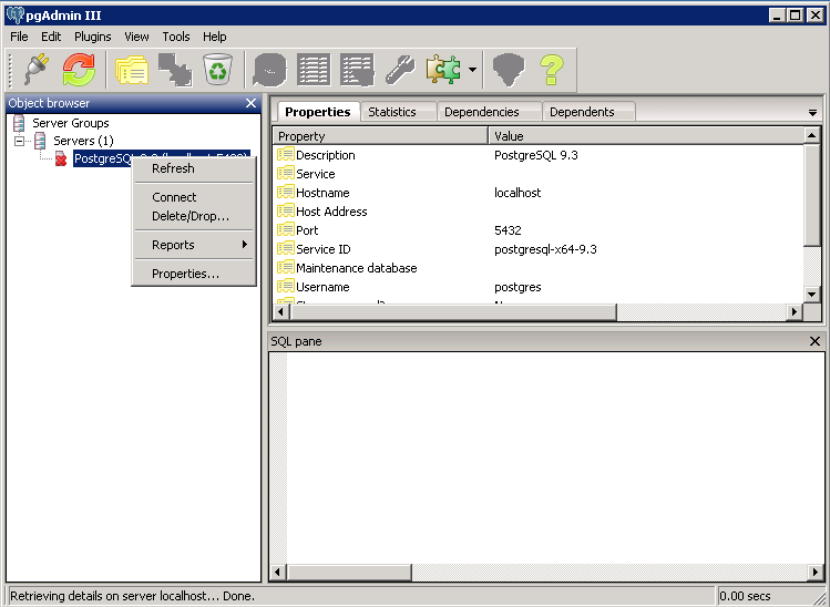 Install PostgreSQL for Windows and restore database using GUI